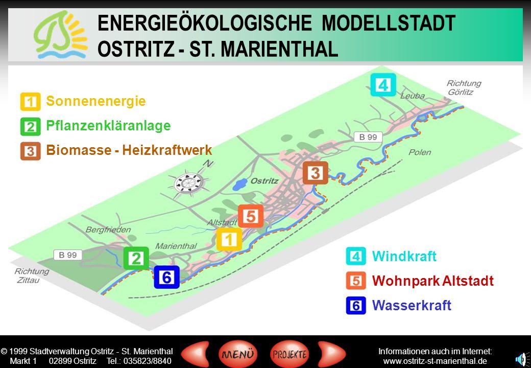 Sonnenenergie Pflanzenkläranlage Biomasse - Heizkraftwerk Windkraft Wohnpark Altstadt Wasserkraft