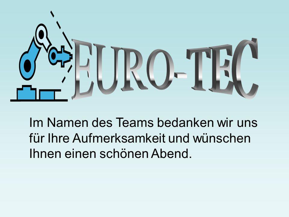 EURO-TEC Im Namen des Teams bedanken wir uns für Ihre Aufmerksamkeit und wünschen Ihnen einen schönen Abend.