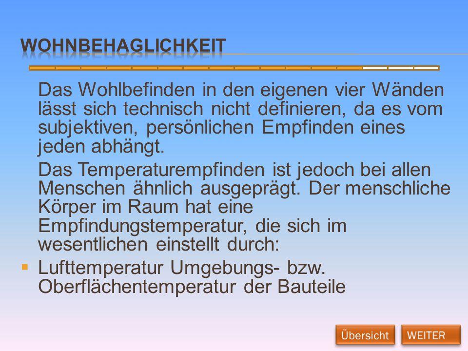 Lufttemperatur Umgebungs- bzw. Oberflächentemperatur der Bauteile
