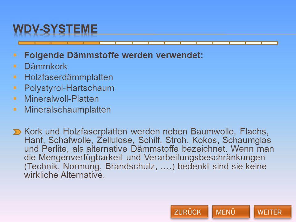WDV-Systeme Folgende Dämmstoffe werden verwendet: Dämmkork