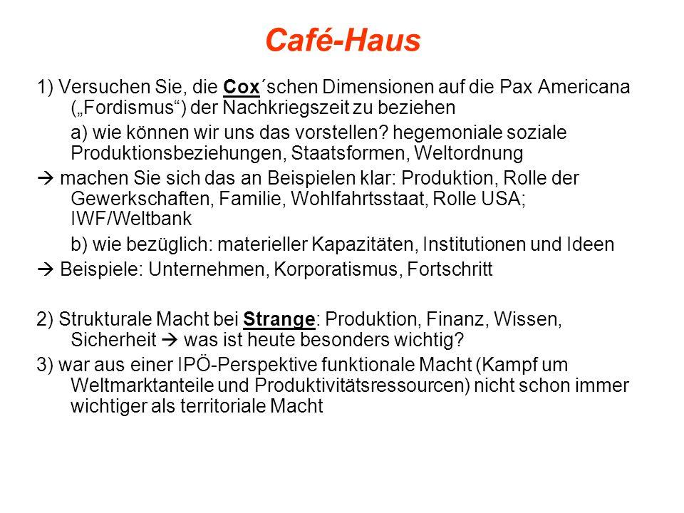 """Café-Haus 1) Versuchen Sie, die Cox´schen Dimensionen auf die Pax Americana (""""Fordismus ) der Nachkriegszeit zu beziehen."""