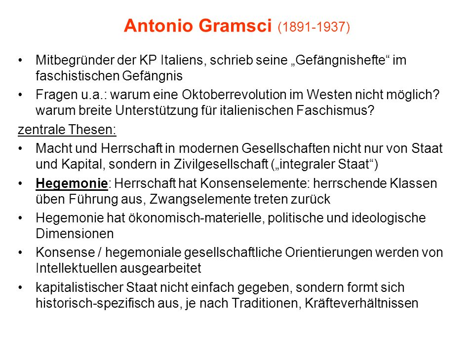"""Antonio Gramsci (1891-1937) Mitbegründer der KP Italiens, schrieb seine """"Gefängnishefte im faschistischen Gefängnis."""