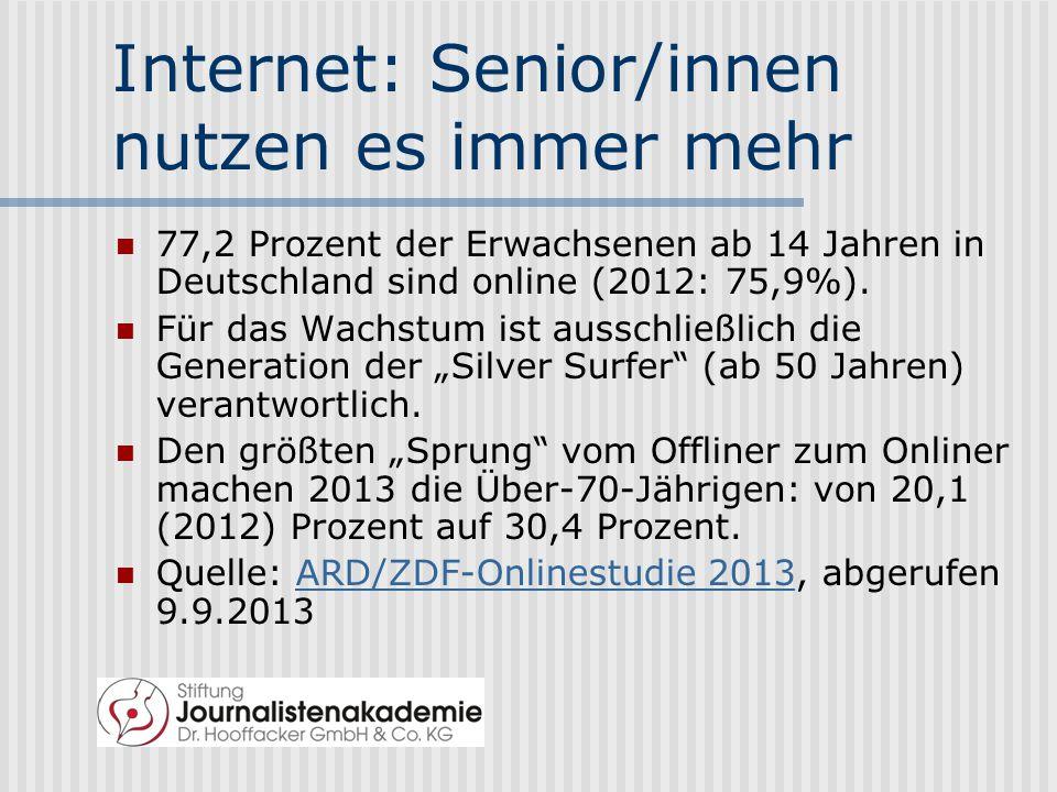 Internet: Senior/innen nutzen es immer mehr