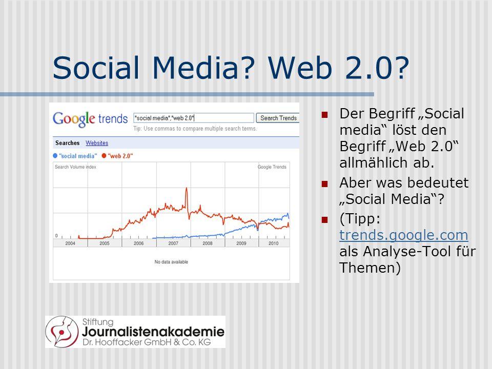 """Social Media Web 2.0 Der Begriff """"Social media löst den Begriff """"Web 2.0 allmählich ab. Aber was bedeutet """"Social Media"""