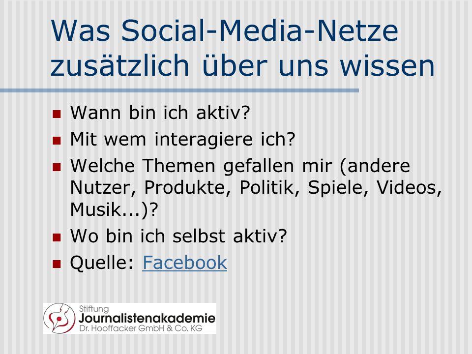 Was Social-Media-Netze zusätzlich über uns wissen