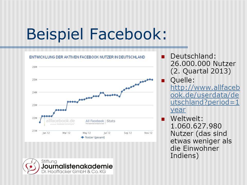 Beispiel Facebook: Deutschland: 26.000.000 Nutzer (2. Quartal 2013)