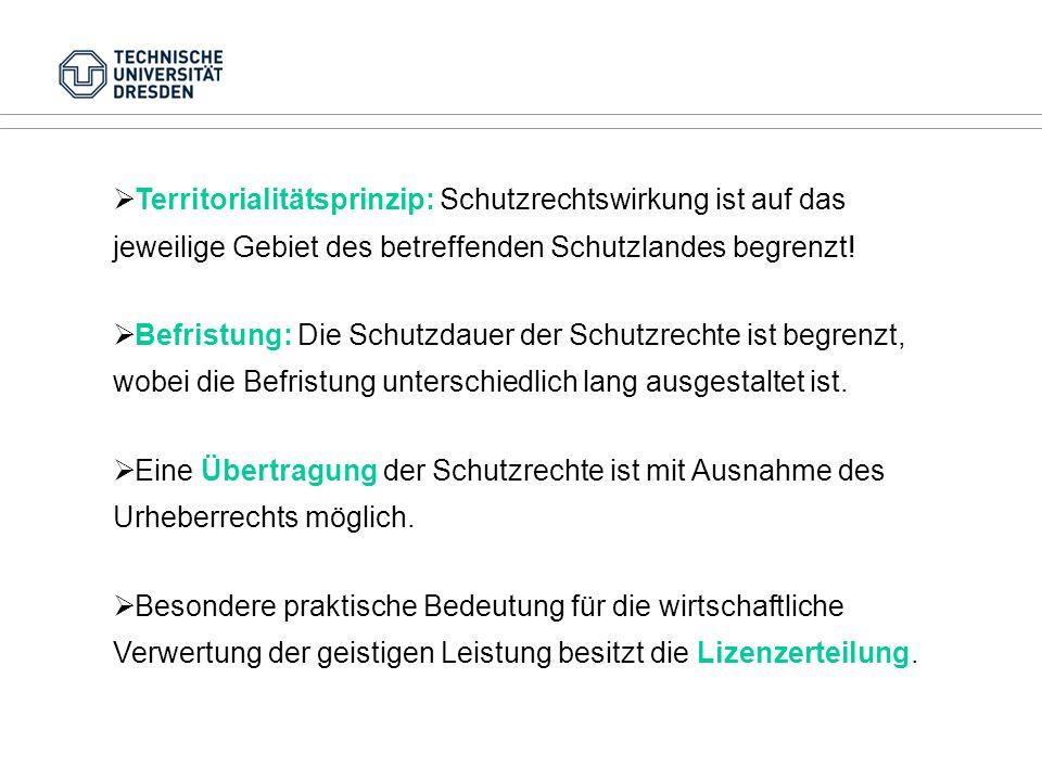 Territorialitätsprinzip: Schutzrechtswirkung ist auf das jeweilige Gebiet des betreffenden Schutzlandes begrenzt!