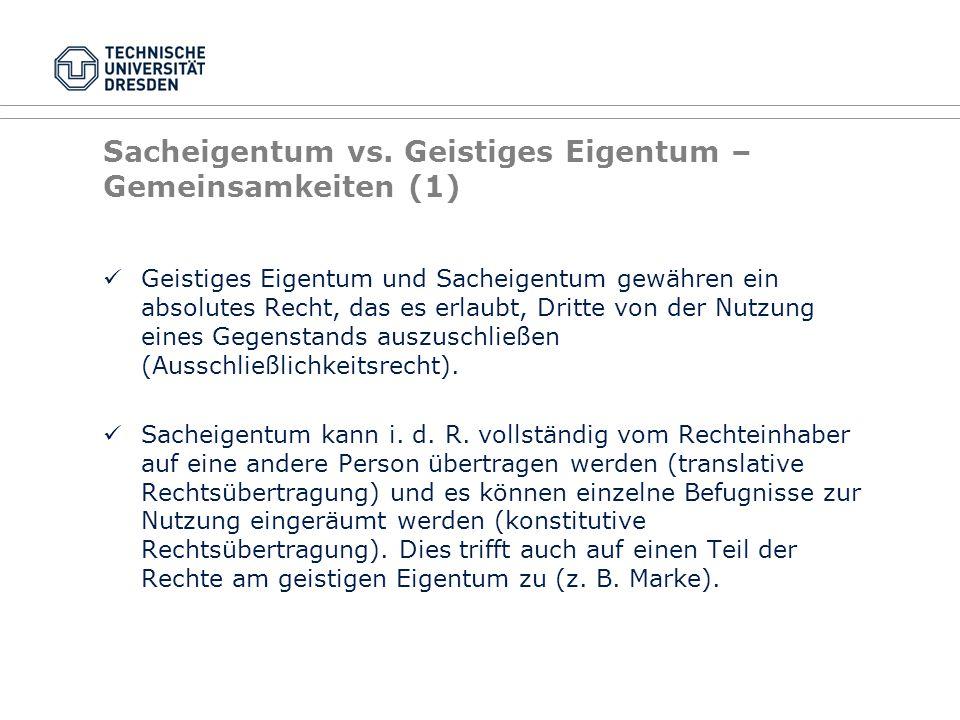 Sacheigentum vs. Geistiges Eigentum – Gemeinsamkeiten (1)