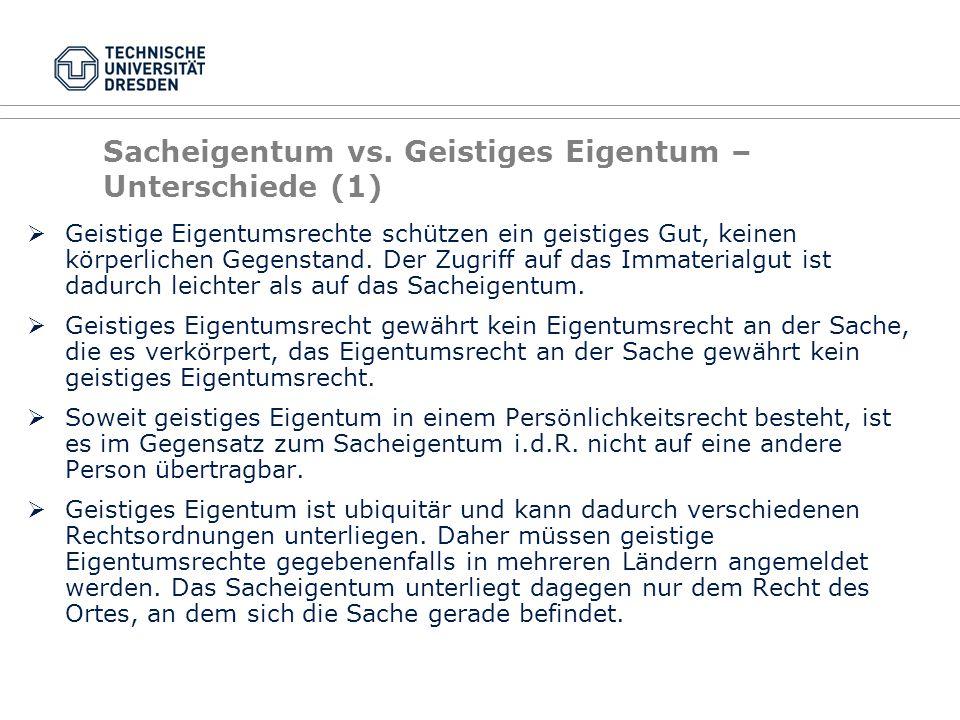 Sacheigentum vs. Geistiges Eigentum – Unterschiede (1)