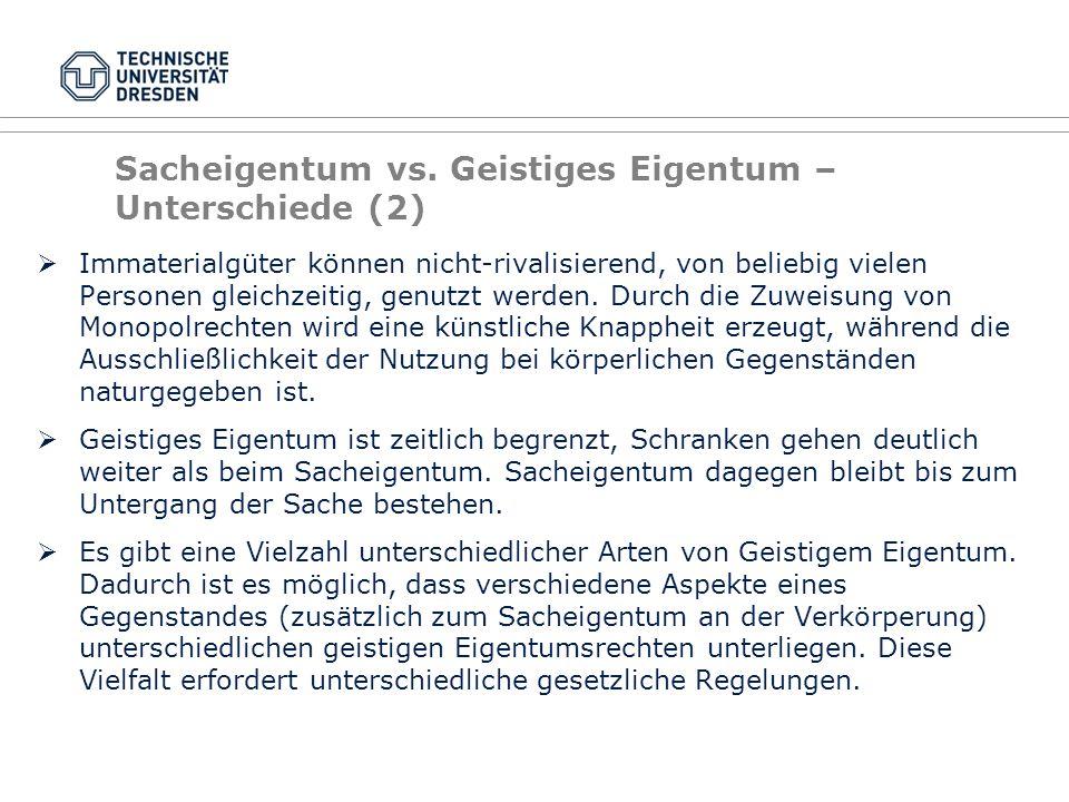 Sacheigentum vs. Geistiges Eigentum – Unterschiede (2)