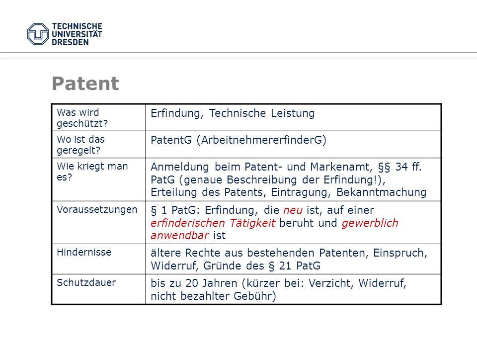 Patent Erfindung, Technische Leistung PatentG (ArbeitnehmererfinderG)
