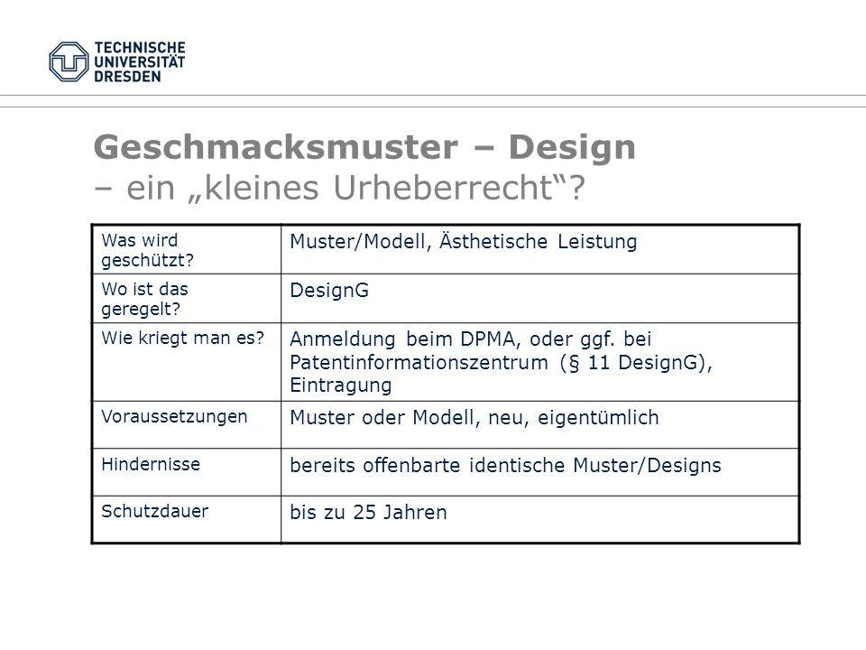 """Geschmacksmuster – Design – ein """"kleines Urheberrecht"""