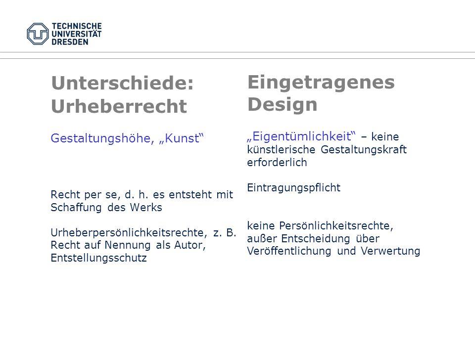 Eingetragenes Design Unterschiede: Urheberrecht