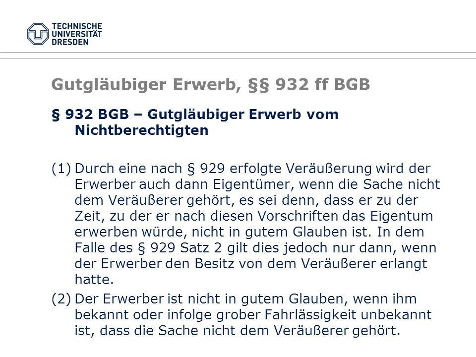 Gutgläubiger Erwerb, §§ 932 ff BGB