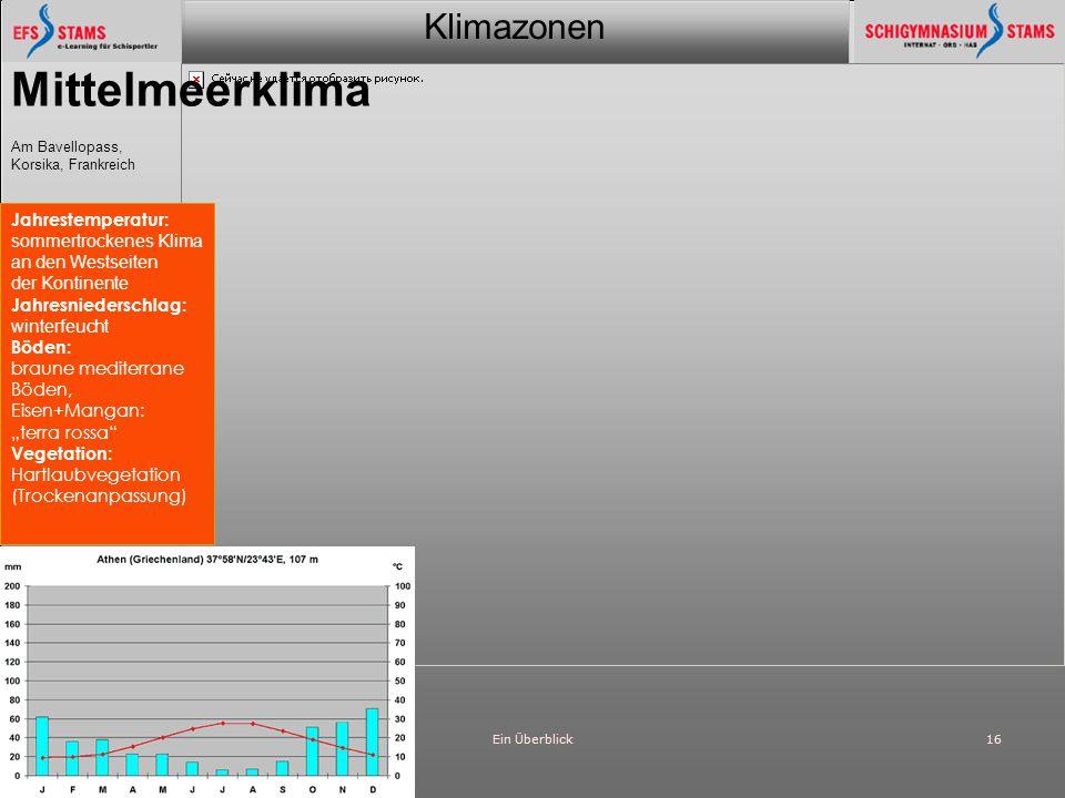 Mittelmeerklima Jahrestemperatur: sommertrockenes Klima