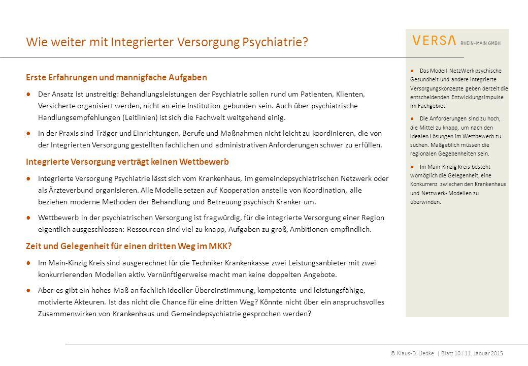 Wie weiter mit Integrierter Versorgung Psychiatrie