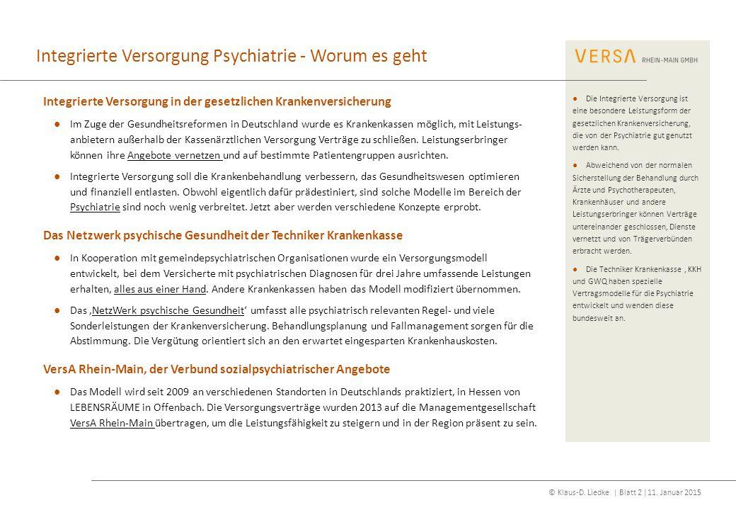 Integrierte Versorgung Psychiatrie - Worum es geht