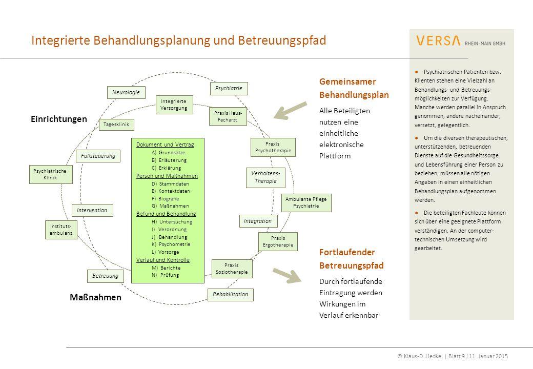 Integrierte Behandlungsplanung und Betreuungspfad