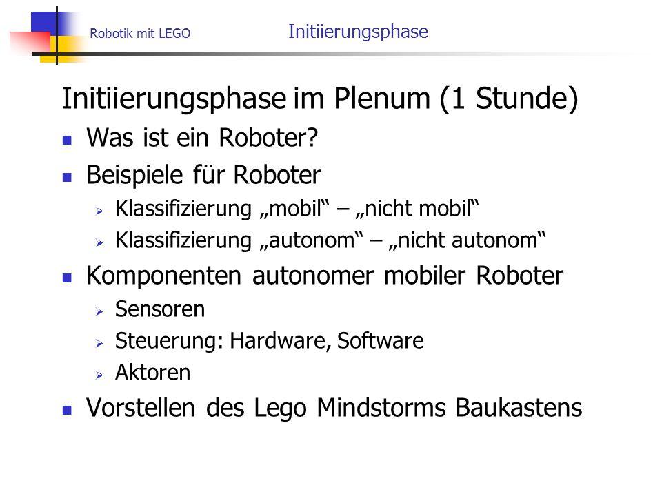 Robotik mit LEGO Initiierungsphase