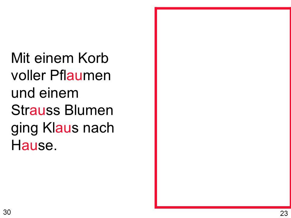 Mit einem Korb voller Pflaumen und einem Strauss Blumen ging Klaus nach Hause.