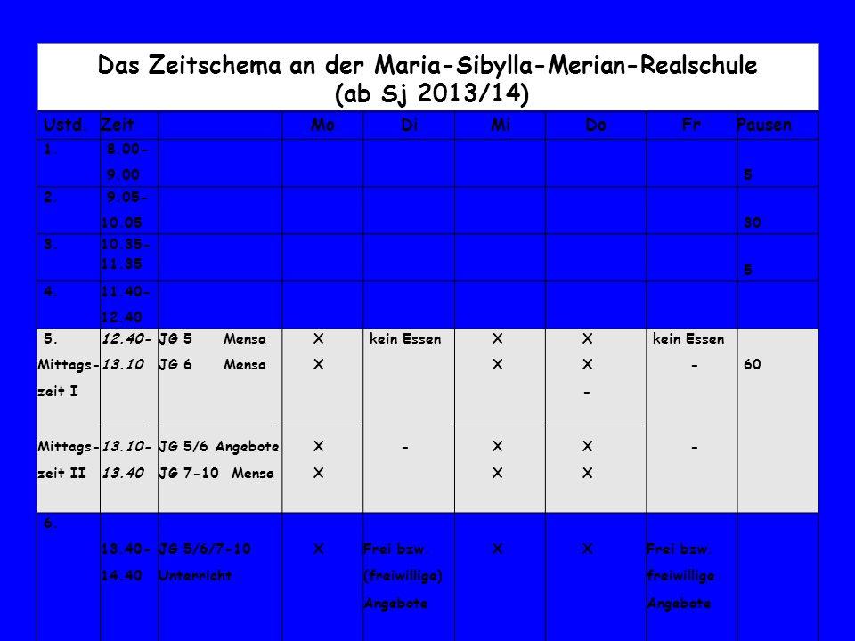 Das Zeitschema an der Maria-Sibylla-Merian-Realschule