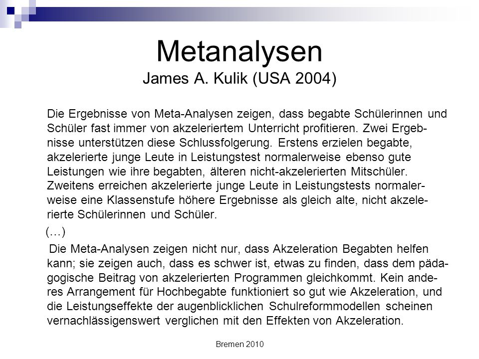 Metanalysen James A. Kulik (USA 2004)
