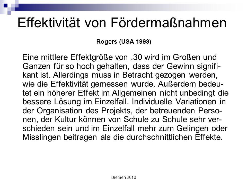 Effektivität von Fördermaßnahmen Rogers (USA 1993)