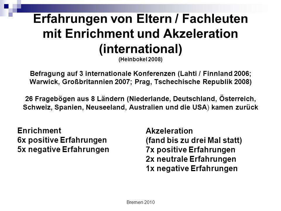 Erfahrungen von Eltern / Fachleuten mit Enrichment und Akzeleration (international) (Heinbokel 2008) Befragung auf 3 internationale Konferenzen (Lahti / Finnland 2006; Warwick, Großbritannien 2007; Prag, Tschechische Republik 2008) 26 Fragebögen aus 8 Ländern (Niederlande, Deutschland, Österreich, Schweiz, Spanien, Neuseeland, Australien und die USA) kamen zurück
