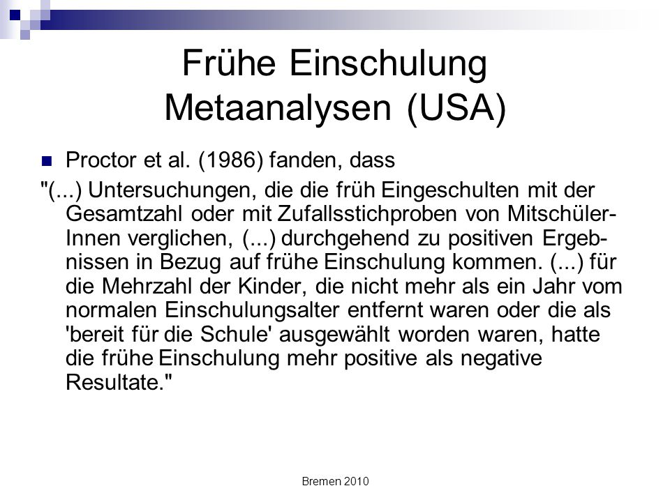 Frühe Einschulung Metaanalysen (USA)