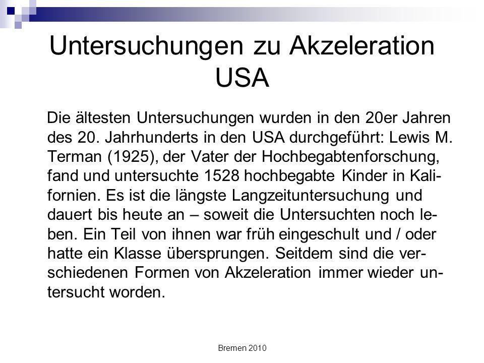 Untersuchungen zu Akzeleration USA