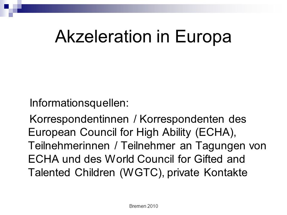 Akzeleration in Europa