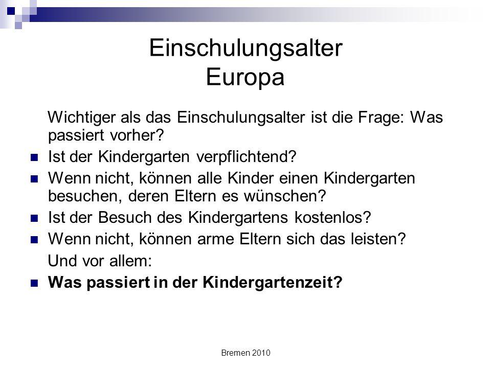 Einschulungsalter Europa