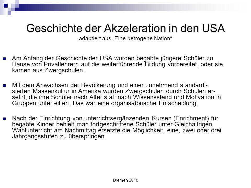 """Geschichte der Akzeleration in den USA adaptiert aus """"Eine betrogene Nation"""