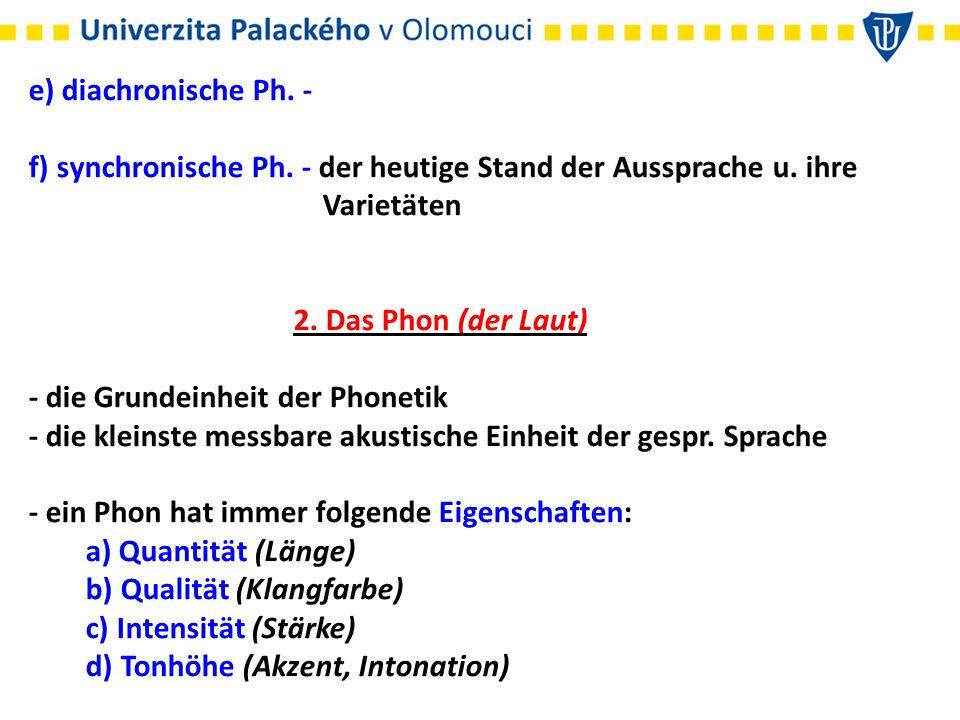 e) diachronische Ph. - f) synchronische Ph. - der heutige Stand der Aussprache u. ihre. Varietäten.