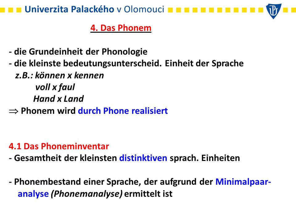 4. Das Phonem - die Grundeinheit der Phonologie - die kleinste bedeutungsunterscheid. Einheit der Sprache z.B.: können x kennen voll x faul Hand x Land  Phonem wird durch Phone realisiert