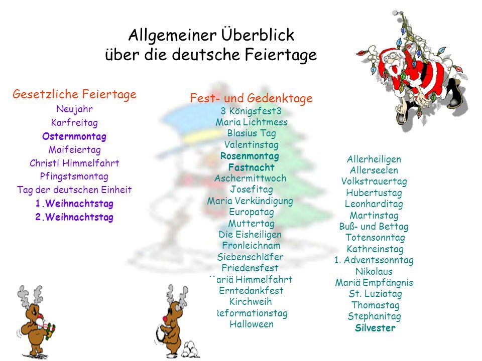 Allgemeiner Überblick über die deutsche Feiertage