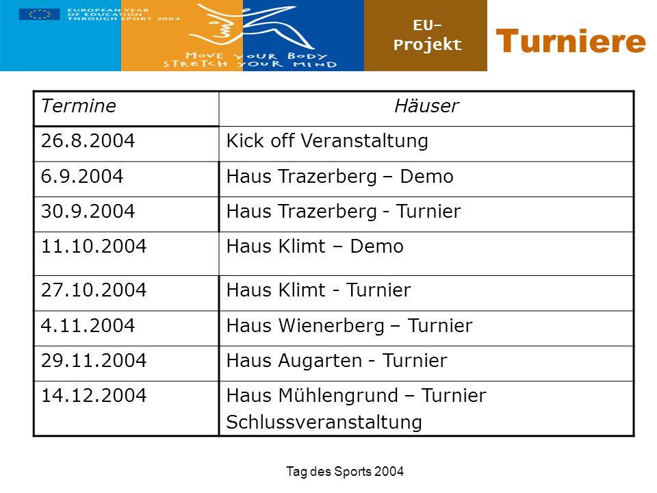 Turniere Termine Häuser 26.8.2004 Kick off Veranstaltung 6.9.2004