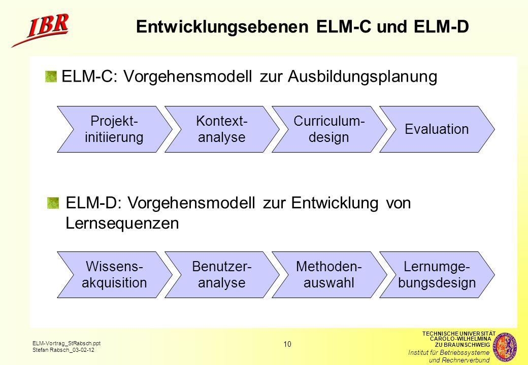 Entwicklungsebenen ELM-C und ELM-D