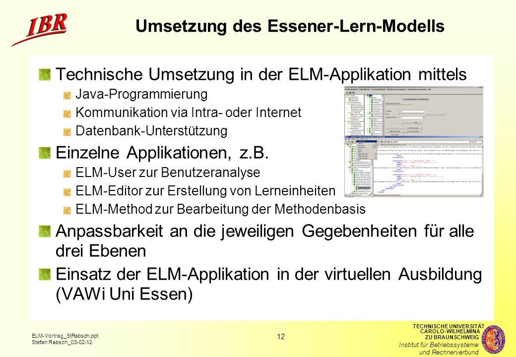 Umsetzung des Essener-Lern-Modells