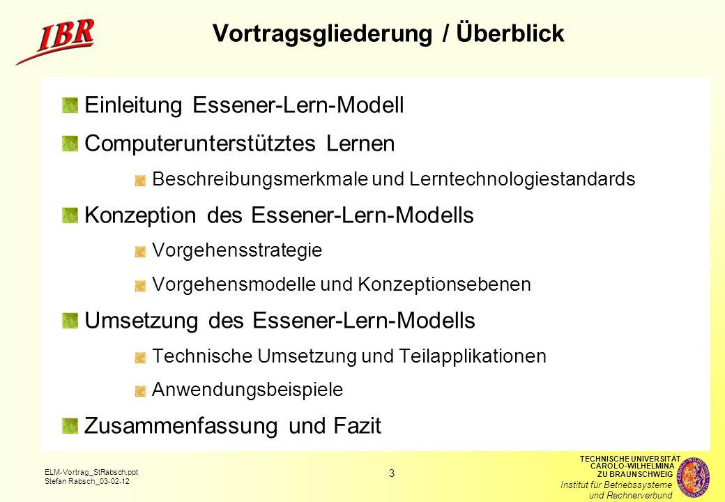 Vortragsgliederung / Überblick