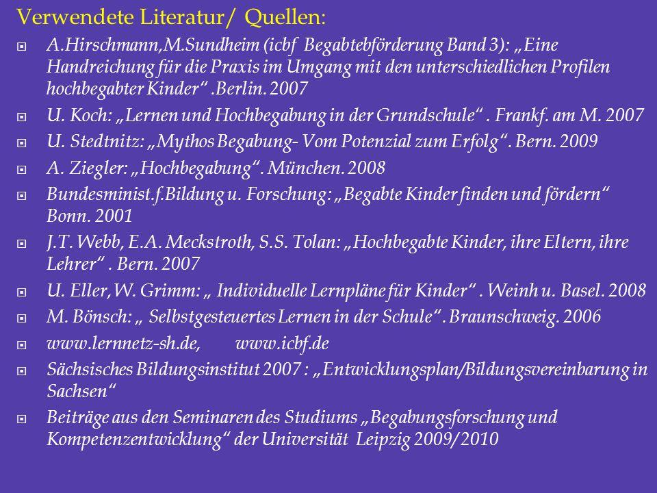 Verwendete Literatur/ Quellen: