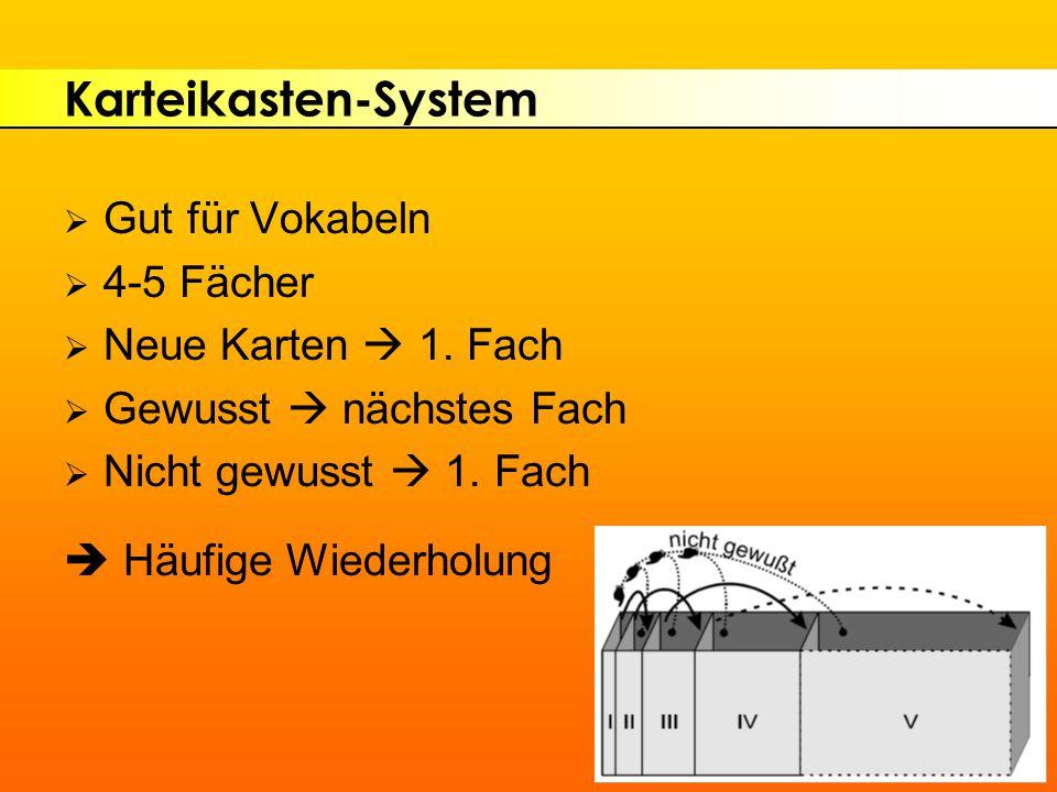 Karteikasten-System Gut für Vokabeln 4-5 Fächer Neue Karten  1. Fach