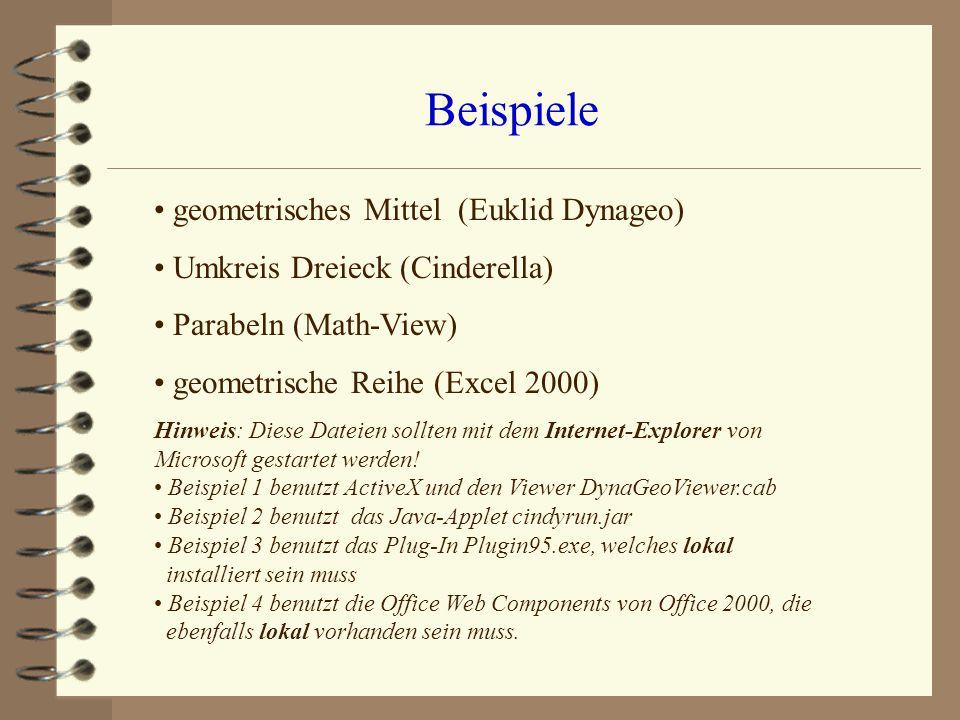 Beispiele geometrisches Mittel (Euklid Dynageo)