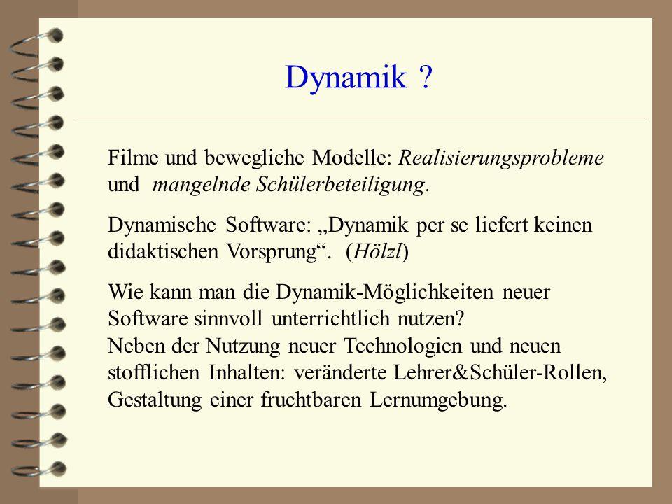 Dynamik Filme und bewegliche Modelle: Realisierungsprobleme und mangelnde Schülerbeteiligung.