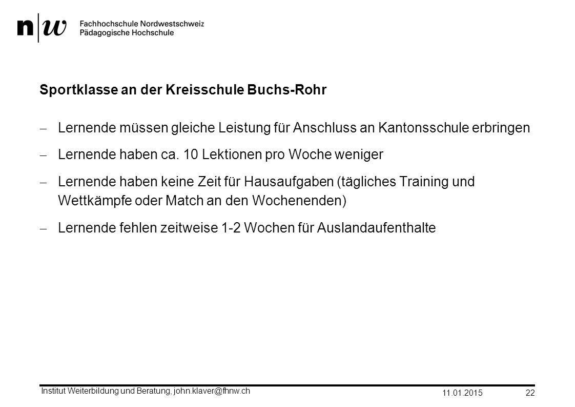 Sportklasse an der Kreisschule Buchs-Rohr