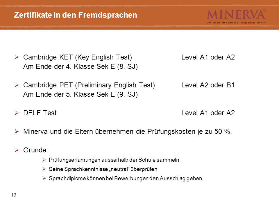 Zertifikate in den Fremdsprachen