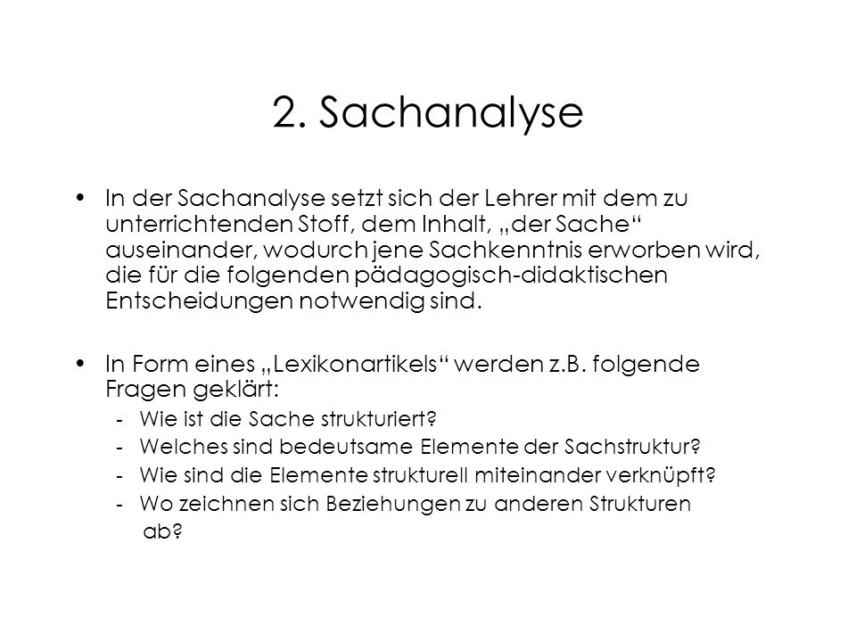2. Sachanalyse