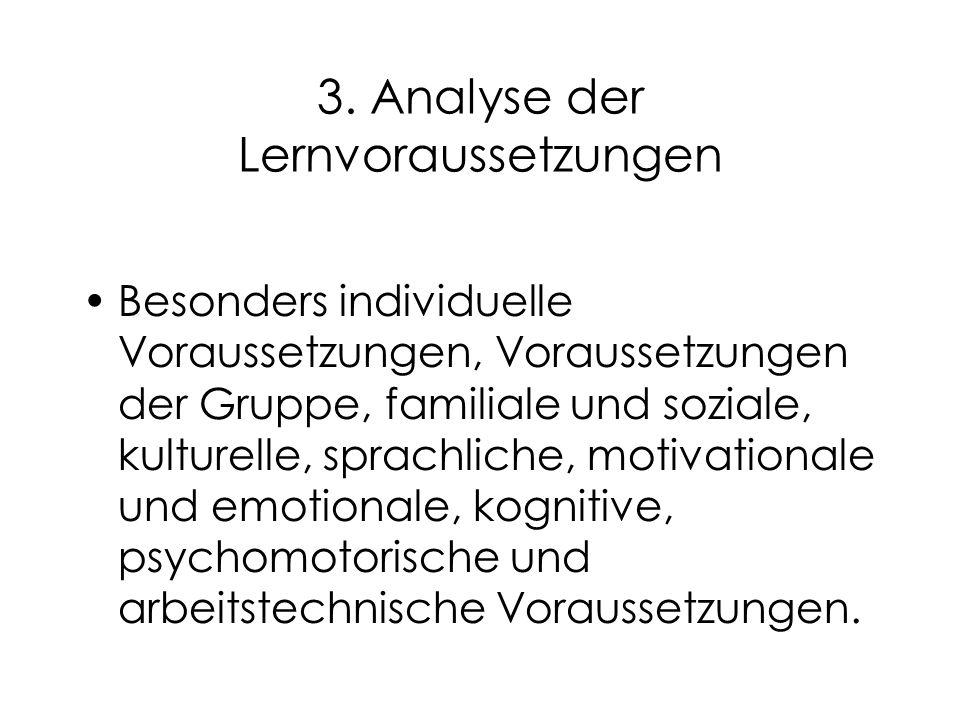 3. Analyse der Lernvoraussetzungen