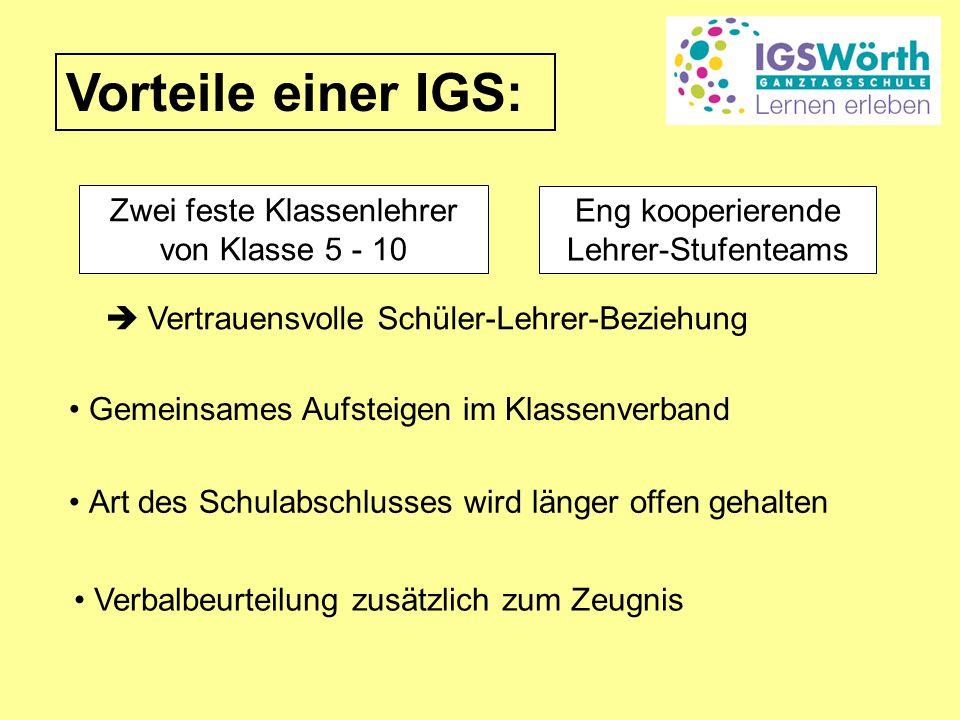 Vorteile einer IGS: Zwei feste Klassenlehrer von Klasse 5 - 10