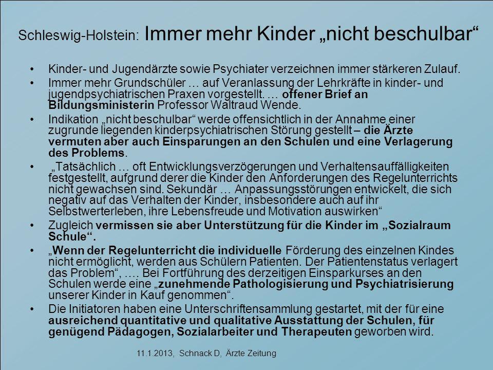 """Schleswig-Holstein: Immer mehr Kinder """"nicht beschulbar"""